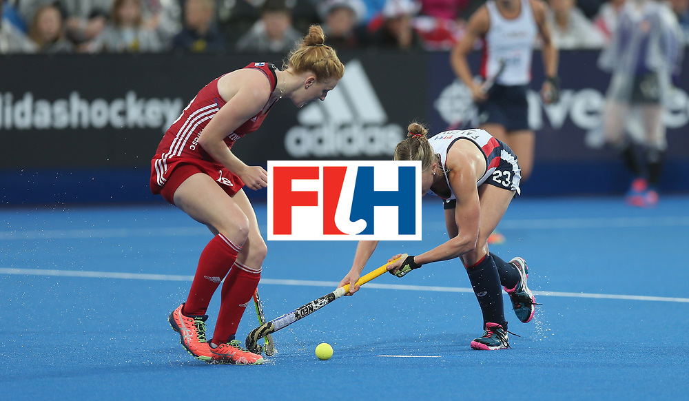 LONDON, ENGLAND - JUNE 23: Helen Richardson-Walsh of Great Britain and Katelyn Falgowski of USA during the FIH Women's Hockey Champions Trophy match between Great Britain and USA at Queen Elizabeth Olympic Park on June 23, 2016 in London, England.  (Photo by Alex Morton/Getty Images)