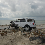 MARATHON, FL - SEPTEMBER 16: <br /> A destroyed SUV outside the Bahia Honda State Park on September 16, 2017 in Marathon, Florida.  (Photo by Angel Valentin/Getty Images)
