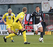 Dundee's Luka Tankulic runs at St Mirren's Mark McAusland - Dundee v St Mirren, SPFL Premiership at <br /> Dens Park<br /> <br />  - &copy; David Young - www.davidyoungphoto.co.uk - email: davidyoungphoto@gmail.com