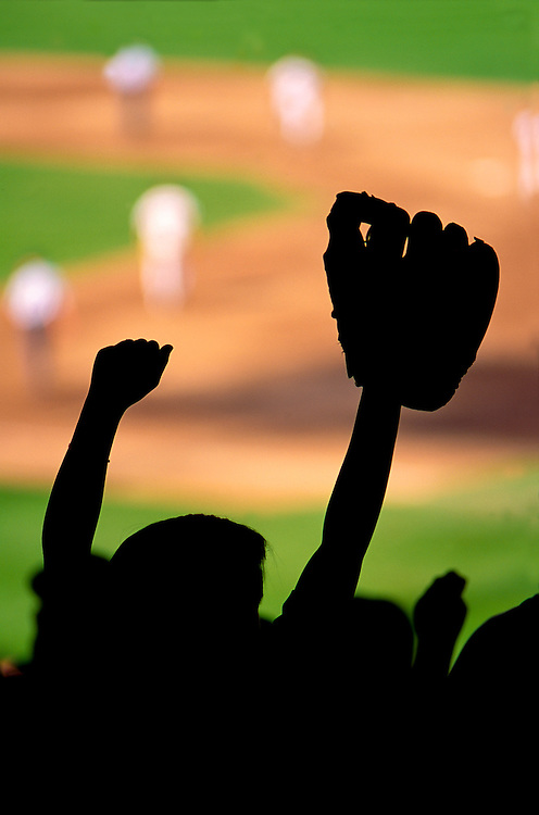child with baseball glove in stands, baseball game