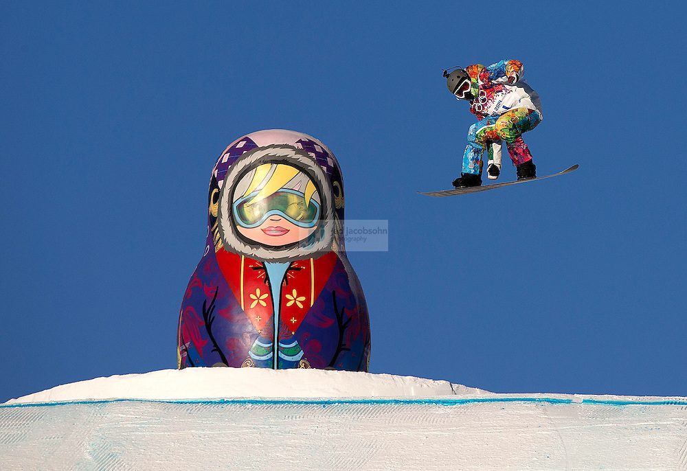 Snowboarding: 2014 Winter Olympics: A fore runner in action during Women's Snowboard Slopestyle qualifying at PSX - Rosa Khutor Extreme Park. Krasnaya Polyana, Russia 2/6/2014 CREDIT: Jed Jacobsohn (Photo by Jed Jacobsohn /Sports Illustrated)