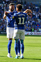 Football - 2019 / 2020 Sky Bet (EFL) Championship - Cardiff City vs. Middlesbrough<br /> <br /> Callum Paterson of Cardiff City& Josh Murphy of Cardiff City celebrates scoring his team's first goal, at the Cardiff City Stadium.<br /> <br /> COLORSPORT/WINSTON BYNORTH