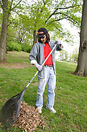 David Danner during a cleanup of the Victory Oak Knoll Memorial near the entrance of Dayton's Community Golf Course (at the edge of Kettering) by Boy Scout Troop 193, Saturday, May 7, 2011.