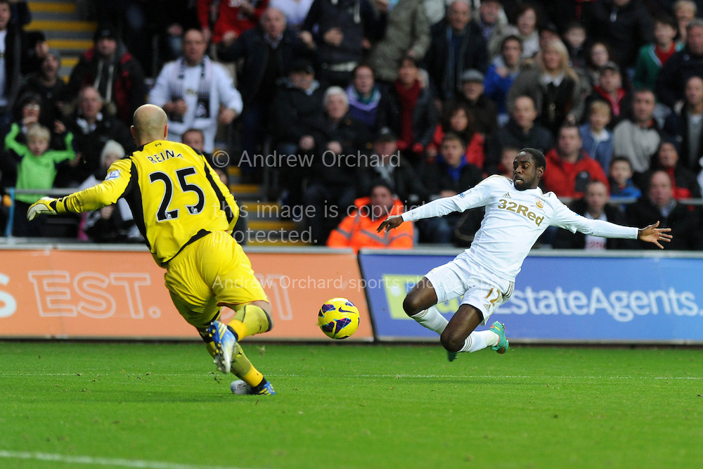 Swansea city's Nathan Dyer has a shot at goal blocked by Liverpool keeper Pepe Reina. Barclays Premier league, Swansea city v Liverpool at the Liberty Stadium in Swansea , South Wales on Sunday 25th November 2012. pic by Andrew Orchard, Andrew Orchard sports photography,