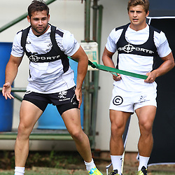 DURBAN, SOUTH AFRICA, 28 January 2016 -  Cobus Reinach with Patrick Lambie during The Cell C Sharks Pre Season training for the 2016 Super Rugby Season at Growthpoint Kings Park in Durban, South Africa. (Photo by Steve Haag)<br /> images for social media must have consent from Steve Haag