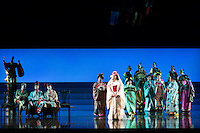 """LONDON, UK, 14 May, 2016. Rena Harms (as Butterfly, centre, in white) rehearses with members of the chorus for the revival of director Anthony Minghella's production of Puccini's opera """"Madam Butterfly"""" at the London Coliseum for the English National Opera. The production opens on 16 May. Photo credit: Scott Rylander."""