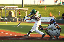24 July 2015:  Aaron Dudley takes his turn at bat during a Frontier League Baseball game between the Gateway Grizzlies and the Normal CornBelters at Corn Crib Stadium on the campus of Heartland Community College in Normal Illinois
