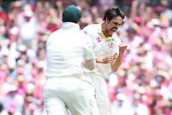 © Licensed to London News Pictures. 05/01/2014. Mitchell Johnson celebrates after getting a wicket during day 3 of the 5th Ashes Test Match between Australia Vs England at the SCG on 5 January, 2013 in Melbourne, Australia. Photo credit : Asanka Brendon Ratnayake/LNP
