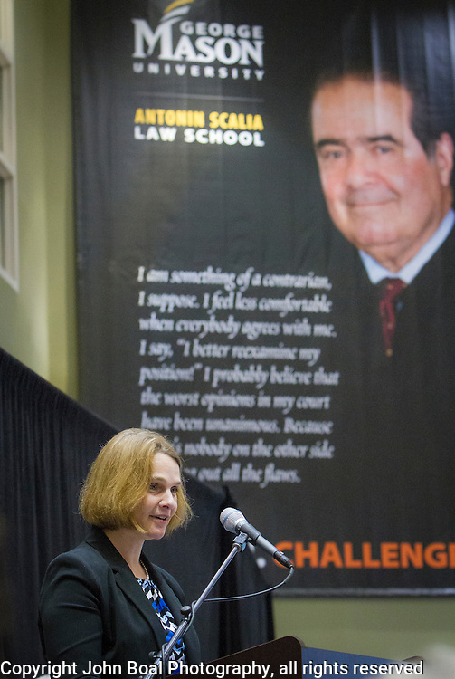 Catherine Scalia Courtney speaks about her father, United States Supreme Court Justice, Antonin Scalia, during the Antonin Scalia Law School Dedication, at the Antonin Scalia School of Law, Arlington, VA, Thursday, October 6,, 2016.