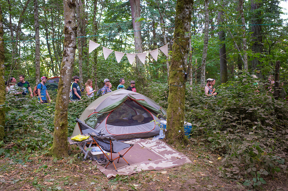 Bill Purcell, Tent camping in the woods.