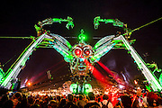 Metamorphosis - the Arcadia Spectacular - a  show with giant spider. The 2015 Glastonbury Festival, Worthy Farm, Glastonbury.