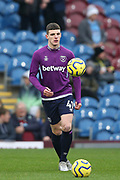 West Ham United midfielder Declan Rice (41) warming up during the Premier League match between Burnley and West Ham United at Turf Moor, Burnley, England on 9 November 2019.