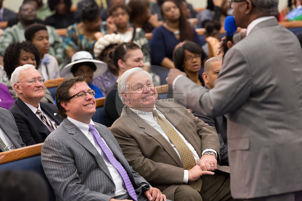 North Charleston Mayor Keith Summey smiles during a healing service at Charity Missionary Baptist Church April 12, 2015 in North Charleston, South Carolina. Sharpton spoke following the recent fatal shooting of unarmed motorist Walter Scott police and thanked the Mayor and Police Chief for doing the right thing in charging the officer with murder.