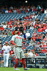 May 6, 2018 - Washington, DC, U.S. - WASHINGTON, DC - MAY 06:  Philadelphia Phillies first baseman Carlos Santana (41) catches a pop up in the first inning in action in during the game between the Philadelphia Phillies  and the Washington Nationals on May 6, 2018, at Nationals Park, in Washington D.C.  The Washington Nationals defeated the Philadelphia Phillies, 5-4.  (Photo by Mark Goldman/Icon Sportswire) (Credit Image: © Mark Goldman/Icon SMI via ZUMA Press)
