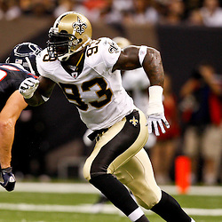 August 21, 2010; New Orleans, LA, USA; New Orleans Saints defensive end Bobby McCray (93) rushes the passer against the Houston Texans during the second quarter of a preseason game at the Louisiana Superdome. Mandatory Credit: Derick E. Hingle