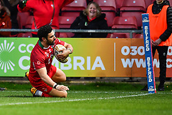 11th November 2018 , Racecourse Ground,  Wrexham, Wales ;  Rugby League World Cup Qualifier,Wales v Ireland ; Rhys Williams of Wales crosses for a try<br /> <br /> <br /> Credit:   Craig Thomas/Replay Images