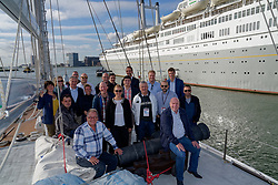 "12-09-2019 NED: Kick-off European Volleyball Men's Championship, Rotterdam<br /> Kick-off for the European Volleyball Men's Championship at the Sailing Ship ""Eendracht"" with The CEV board, municipal officials of the playing cities, Nevobo and Topsport Rotterdam / CEV, delegate cities Rotterdam, Amsterdam and Apeldoorn"