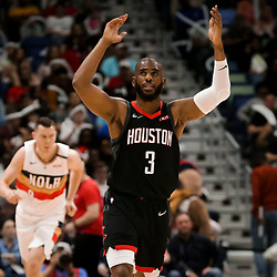 Mar 24, 2019; New Orleans, LA, USA; Houston Rockets guard Chris Paul (3) reacts after a three point basket during the second half at the Smoothie King Center. Mandatory Credit: Derick E. Hingle-USA TODAY Sports