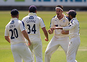 Jack Brooks celebrates with team mates Adil U Rashid  and Jack Leaning (34) and Aaron J Finch (20) (Yorkshire CCC)  after taking the wicket of Jamie Harrison (Durham County Cricket Club) during the LV County Championship Div 1 match between Durham County Cricket Club and Yorkshire County Cricket Club at the Emirates Durham ICG Ground, Chester-le-Street, United Kingdom on 1 July 2015. Photo by George Ledger.
