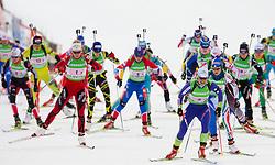 Kari Eie of Norway, Svetlana Sleptsova of Russia,   Andreja Mali of Slovenia and Michela Ponza of Italy during the Mixed 2x6 + 2x7,5km relay of the e.on IBU Biathlon World Cup on Saturday, December 19, 2010 in Pokljuka, Slovenia. The fourth e.on IBU World Cup stage is taking place in Rudno polje - Pokljuka, Slovenia until Sunday December 19, 2010. (Photo By Vid Ponikvar / Sportida.com)