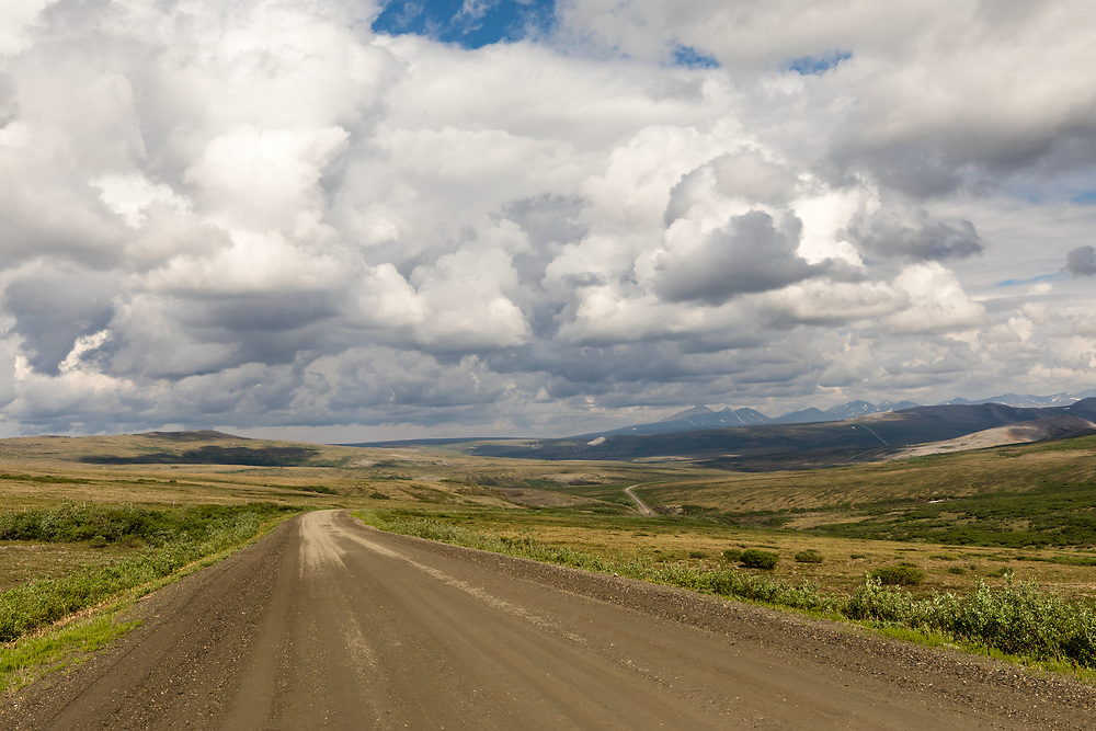 Teller Road and Kigluaik Mountains north of Nome in Northwest Alaska. Spring. Afternoon.