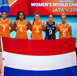 03-10-2018 NED: World Championship Volleyball Women day 5, Yokohama<br /> Argentina - Netherlands 0-3 / Juliet Lohuis #7 of Netherlands, Celeste Plak #4 of Netherlands, Yvon Belien #3 of Netherlands, Myrthe Schoot #9 of Netherlands, Maret Balkestein-Grothues #6 of Netherlands