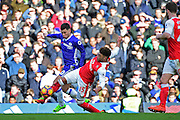 Arsenal midfielder Alex Oxlade-Chamberlain (15) makes a challenge on Chelsea midfielder Eden hazard (10) during the Premier League match between Chelsea and Arsenal at Stamford Bridge, London, England on 4 February 2017. Photo by Jon Bromley.