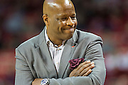 FAYETTEVILLE, AR - NOVEMBER 13:  Head Coach Mike Anderson of the Arkansas Razorbacks expresses his frustration during a game against the Southern University Jaguars at Bud Walton Arena on November 13, 2015 in Fayetteville, Arkansas.  The Razorbacks defeated the Jaguars 86-68.  (Photo by Wesley Hitt/Getty Images) *** Local Caption *** Mike Anderson