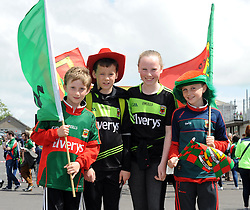 Theo Bellanger, Dylan Walsh and Emma Walsh and Rory Barrett from Kilmaine amoung the Mayo supporters at McHale Park on saturday last.<br /> Pic Conor McKeown