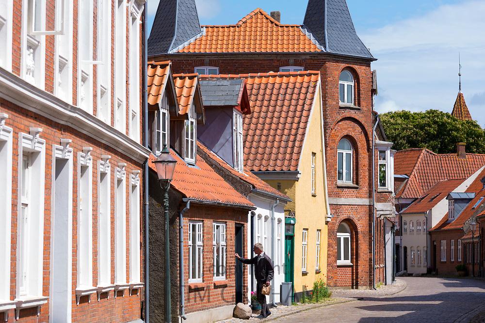 Street scene in medieval Ribe centre, South Jutland, Denmark
