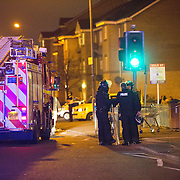 Police attend a siege situation in Old Shettleston Road, Glasgow.  Picture Robert Perry 14th April 2016<br /> <br /> Must credit photo to Robert Perry<br /> FEE PAYABLE FOR REPRO USE<br /> FEE PAYABLE FOR ALL INTERNET USE<br /> www.robertperry.co.uk<br /> NB -This image is not to be distributed without the prior consent of the copyright holder.<br /> in using this image you agree to abide by terms and conditions as stated in this caption.<br /> All monies payable to Robert Perry<br /> <br /> (PLEASE DO NOT REMOVE THIS CAPTION)<br /> This image is intended for Editorial use (e.g. news). Any commercial or promotional use requires additional clearance. <br /> Copyright 2014 All rights protected.<br /> first use only<br /> contact details<br /> Robert Perry     <br /> 07702 631 477<br /> robertperryphotos@gmail.com<br /> no internet usage without prior consent.         <br /> Robert Perry reserves the right to pursue unauthorised use of this image . If you violate my intellectual property you may be liable for  damages, loss of income, and profits you derive from the use of this image.