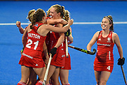 Giselle Ansley of England (18) scores a goal (1-0) and celebrates with team mates during the Vitality Hockey Women's World Cup 2018 Pool B match between England and Ireland at the Lee Valley Hockey and Tennis Centre, QE Olympic Park, United Kingdom on 29 July 2018. Picture by Martin Cole.