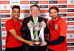 CARDIFF, WALES - Thursday, August 31, 2017: Nathaniel Cars' Wayne Griffiths [centre], with Wales' Neil Taylor and Joe Allen during the 2nd round draw for the FAW Welsh Premier League Cup at the Vale Resort. (Pic by David Rawcliffe/Propaganda)
