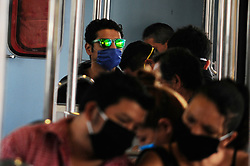 A man wears surgical mask while rides on the subway, Mexico is applying the mandatory use of the protective masks at public transport in an attempt to stop the widespread of the SARS Cov-2 which causes COVID-19 on April 17, 2020 in Mexico City, Mexico. Photo by Ricardo Castelan Cruz/Eyepix/ABACAPRESS.COM