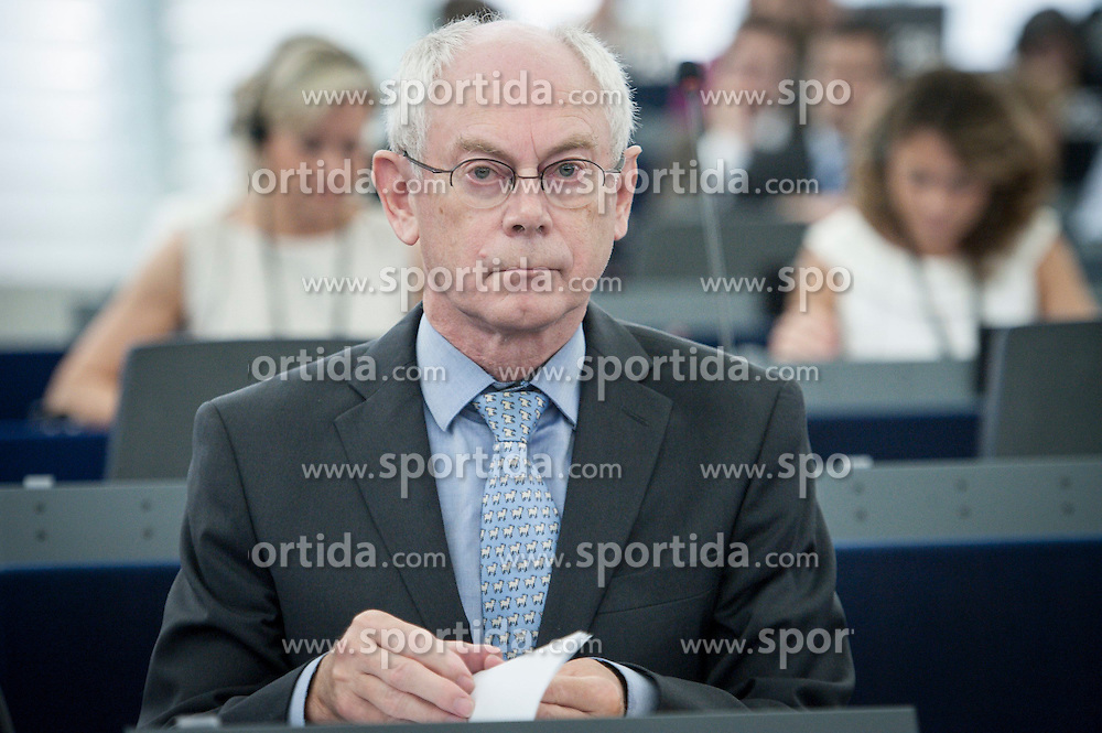 Herman Van Rompuy, the president of the European Council delivers a speech on the second day of plenary session at the European Parliament headquarters in Strasbourg, France on 02.07.2014. EXPA Pictures &copy; 2014, PhotoCredit: EXPA/ Photoshot/ Wiktor Dabkowski<br /> <br /> *****ATTENTION - for AUT, SLO, CRO, SRB, BIH, MAZ only*****