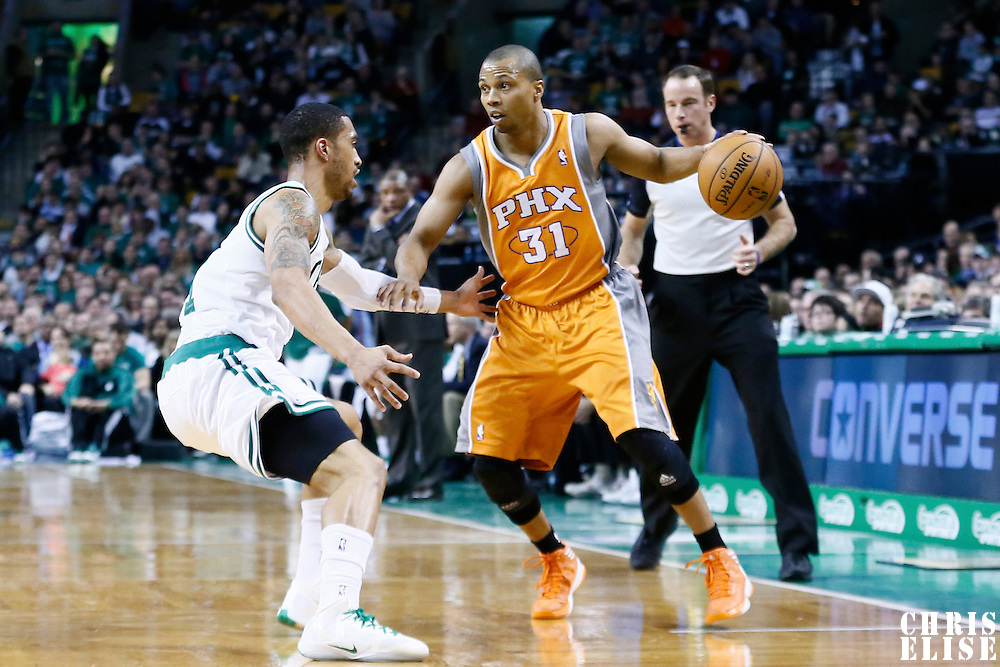 09 January 2013: Boston Celtics shooting guard Courtney Lee (11) defends on Phoenix Suns point guard Sebastian Telfair (31) during the Boston Celtics 87-79 victory over the Phoenix Suns at the TD Garden, Boston, Massachusetts, USA.