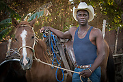 Leo with his horse, Trinidad, Cuba,