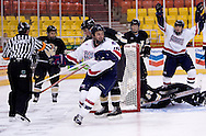October 13, 2007 - Anchorage, Alaska: Ryan Cruthers (16) of the Robert Morris Colonials celebrates a goal against the WSU goalie in the Colonials 4-1 victory over the Wayne State Warriors at the Nye Frontier Classic at the Sullivan Arena.
