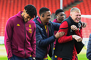 Tyrone Mings (40) of Aston Villa and Kortney Hause (30) of Aston Villa share a joke with Aaron Ramsdale (12) of AFC Bournemouth ahead of the Premier League match between Bournemouth and Aston Villa at the Vitality Stadium, Bournemouth, England on 1 February 2020.