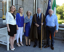 Pictured at the reception and Historical talk at Westport House as part of the O'Malley Clan events over the weekend from left Rosaleen Heraty O'Malley, Christine O'Malley, Kathleen O' Malley, Chieftan Pearse O'Malley and Christy O'Malley.<br />Pic Conor McKeown