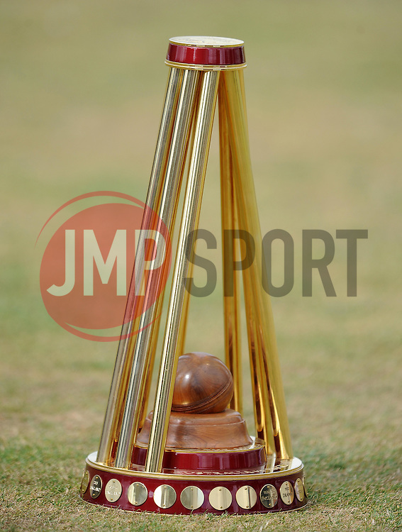 General view of the Ashes trophy prior to the start. - Photo mandatory by-line: Harry Trump/JMP - Mobile: 07966 386802 - 21/07/15 - SPORT - CRICKET - Women's Ashes - Royal London ODI - England Women v Australia Women - The County Ground, Taunton, England.