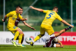 David Tijanic of NK Triglav  and Pisek Janez of NK Domzale  and Tamar Svetlin of NK Domzale during football match between NK Triglav and NK Domzale in 9th Round of Prva liga Telekom Slovenije 2019/20, on September 15, 2019 in Sport park Kranj, Kranj, Slovenia. Photo by Grega Valancic / Sportida
