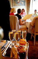 Champagne and cocktails to be served in the restaurant Hostellerie du Nord, in Auvers-sur-Oise, near Paris - © Owen Franken.
