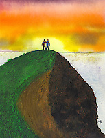 Two figures are standing on the top of a hill watching the sunset together with their arms round each others' shoulders.
