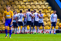 Bury players celebrate the opening goal - Mandatory by-line: Ryan Crockett/JMP - 04/12/2018 - FOOTBALL - One Call Stadium - Mansfield, England - Mansfield Town v Bury - Checkatrade Trophy