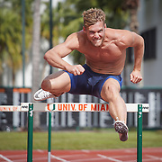 JANUARY 24, 2019--MIAMI, FLORIDA,<br /> Kevin Mayer, a world record holder in decathlon from France, works out in a track and field facility on the University of Miami.<br /> (Photo by Angel Valentin)