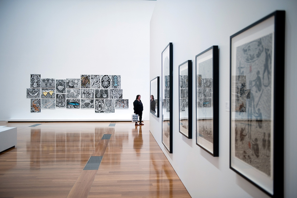 The South Bank by the Brisbane River, Brisbane, Queensland, Australia..Photo shows an exhibition from The Torres Straits Islands at the Gallery of Modern Art.