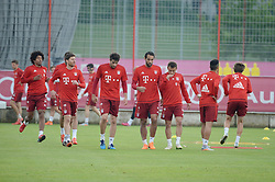 22.05.2015, Saebener Strasse, Muenchen, GER, 1. FBL, Training FC Bayern Muenchen, im Bild Xabi Alonso (FC Bayern Muenchen ), Javi Martinez (FC Bayern Muenchen ), Medhi Benatia (FC Bayern Muenchen ) und Rafinha (FC Bayern Muenchen ) // during a Trainingssession of German Bundesliga Club FC Bayern Munich at the Saebener Strasse in Muenchen, Germany on 2015/05/22. EXPA Pictures © 2015, PhotoCredit: EXPA/ Eibner-Pressefoto/ Vallejos<br /> <br /> *****ATTENTION - OUT of GER*****
