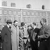 R4378 <br /> Former members of the 11th Dublin Infantry Battalion attend 1916 commemoration. Pictured are John Sinnott, Val Lawlor, Tom Mangan, Justin Collins. April 3 1966. <br /> (Part of the Independent Newspapers Ireland/NLI Collection)