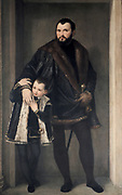 The Count of Pinto', Paolo Veronese (1528-1588) Italian Renaissance painter. Man wearing sword, in black jacket trimmed with fur and young boy (son?) similarly dressed. Child Adult Affection
